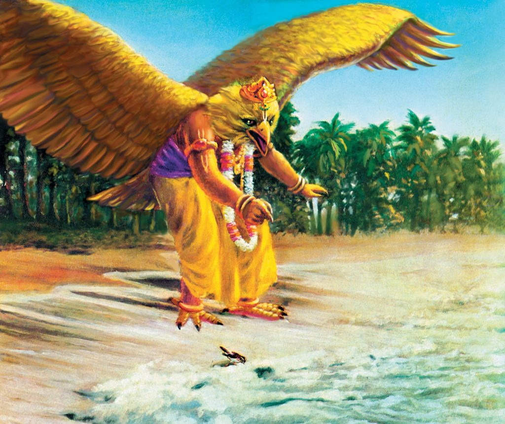 Garuda-comes-to-help-the-sparrow-who-has-lost-her-eggs-in-the-ocean